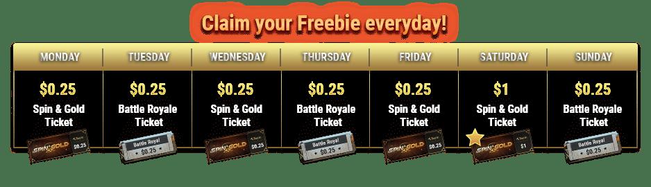Daily Freebie online poker promotion schedule banner